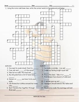 Word Pairs-Binomials Crossword Puzzle