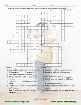 Word Pairs-Binomials Interactive Crossword Puzzle for Google Apps