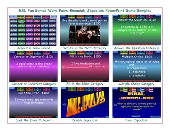 Word Pairs-Binomials Jeopardy PowerPoint Game