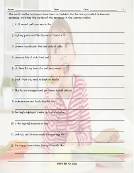 Word Pairs-Binomials Scrambled Sentences Worksheet