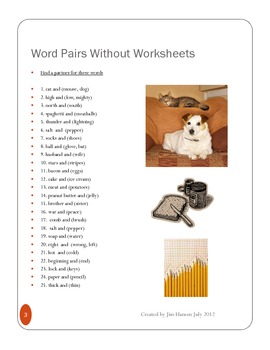 Word Pairs Without Worksheets