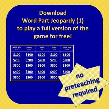 Word Part Jeopardy (6)
