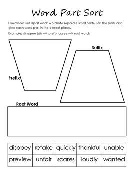 Word Part Sort- Root Words, Prefixes, Suffixes