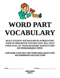 Word Part Vocab with quizzes