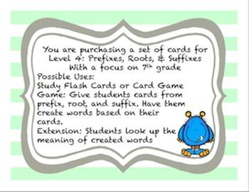 Word Parts Affixes Level 1-5 Study Flash Cards Bundle