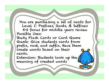 Word Parts Affixes Level 1 Study Flash Cards