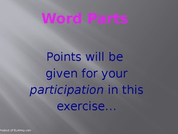 Word Parts - Commom Prefixes, Root Words, Suffixes