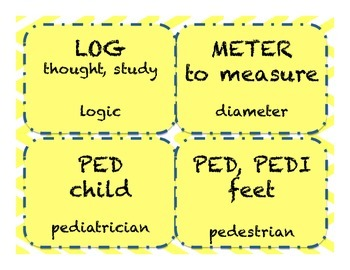 Word Parts Affixes Level 3 Study Flash Cards