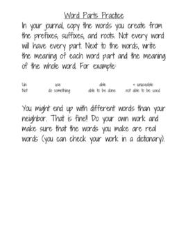 Word Parts Practice
