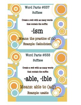 Word Parts Prefix, Suffix, Root Word Center