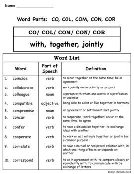 Word Parts Vocabulary List - CO/COL/COM/CON/COR