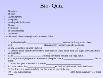 Word Parts (bio-) Presentation and Assessment