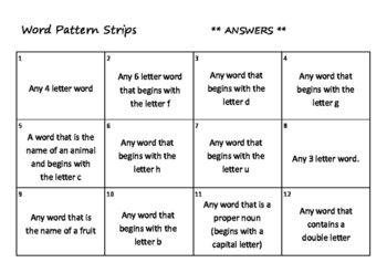 Word Pattern Strips   (Literacy or Math)
