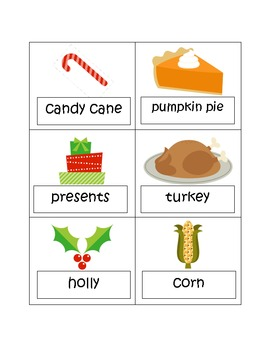 Word & Picture Sort: Thanksgiving and Christmas