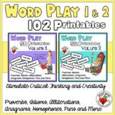 Word Play 102 Printables BUNDLE: Volumes 1 & 2 - Creative Thinking Activities