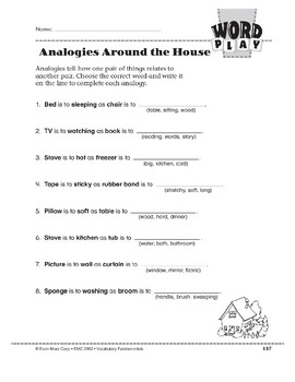 Word Play: Analogies Around the House