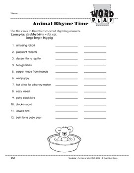 Word Play: Animal Rhyme Time