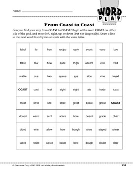 Word Play: From Coast to Coast