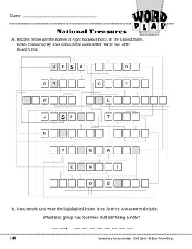 Word Play: National Treasures