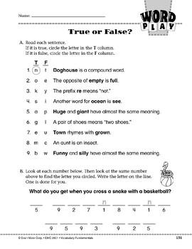 Word Play: True or False?