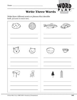 Word Play: Write Three Words