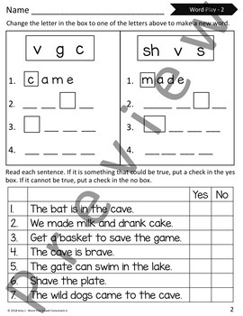 Word Play with Vowel-Consonant-e Syllable (CVCE) Phoneme Manipulation