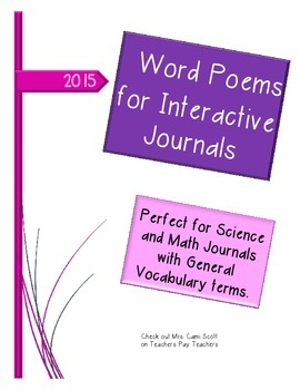 Word Poems for Interactive Journals