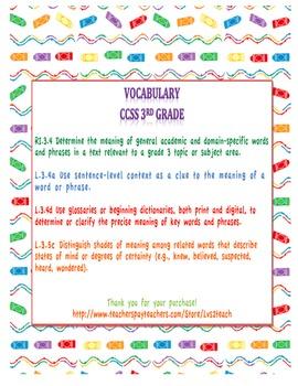 Word Power: Vocabulary Chart Vertical