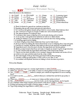 Word Power  Vocabulary Worksheet for Baking