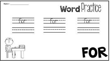Sight Word Practice; For