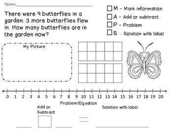 Word Problem 1.OA.1 MAPS Spring Edition! 8 Problems and a Blank Page!