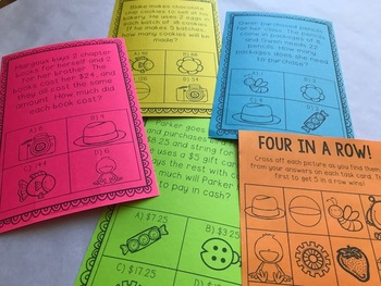 Word Problem 4-In-a-Row Task Cards