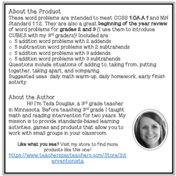 Word Problem A Day - Basic Addition and Subtraction