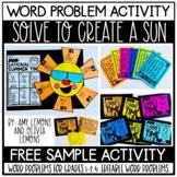 Word Problem Activity Solve to Create a Sun FREEBIE