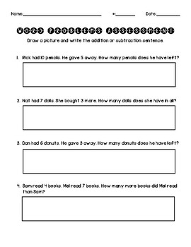 Word Problem Addition & Subtraction Activity