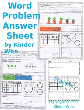 Word Problem Answer Recording Sheet