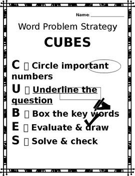 Math Word Problem Breakdown - Chart & CUBES Strategy *EDITABLE*