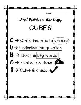 Math Word Problem Breakdown - Chart & CUBES Strategy