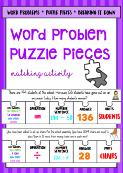 Word Problem Bundle (Task cards, puzzle pieces, money) Year 4 ACARA