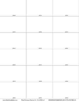 Word Problem Cards MULTIPLICATION