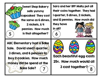 Word Problem Cards Money edition {total values less than $1.00}