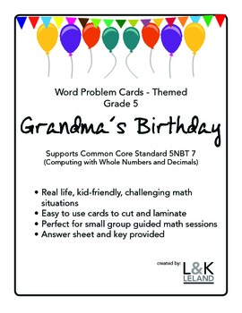 Themed Word Problem Cards - GRANDMA'S BIRTHDAY - Grade 5/6