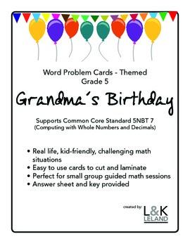 Themed Word Problem Cards - GRANDMA'S BIRTHDAY - Grade 5/6