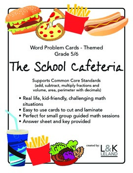 Themed Word Problem Cards - SCHOOL CAFETERIA - Grade 5/6