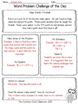 Word Problem Challenge 3rd Grade - Sampler - Freebie