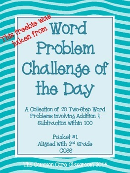 Word Problem Challenge Packet Sample Freebie