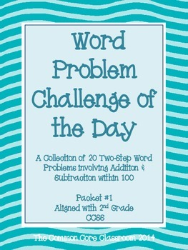 Word Problem Challenge for 2nd Grade-Aligned with CCSS 2.OA.1-Two-Step Problems