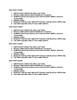 Word Problem Checklist for Students