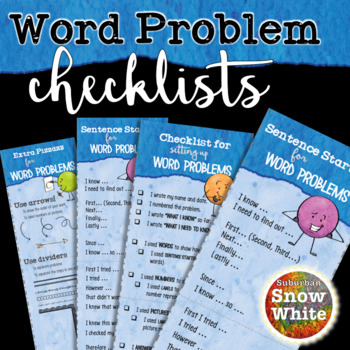 Word Problem Solving Checklists: Show your work! {Freebie!} | TpT