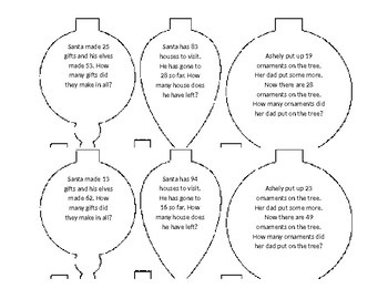 Word Problem Christmas Tree Ornaments